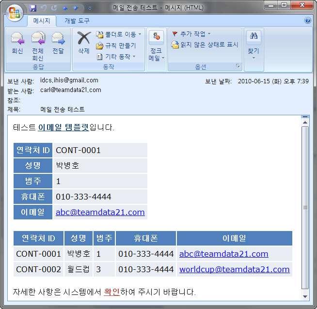 이메일 전송 기능 - 템플릿에 의한 이메일